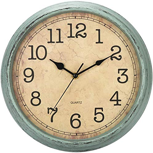 HYLANDA - Reloj de Pared de 12 Pulgadas, Vintage/Retro, silencioso, de Cuarzo, Decorativo, Funciona con Pilas con números Grandes y Cristal HD, fácil de Leer para Cocina/salón/baño/Dormitorio/Oficina