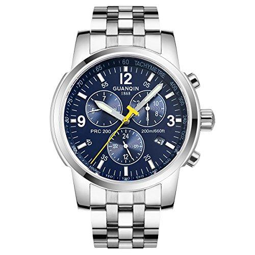 GUANQIN Reloj de pulsera de acero inoxidable mecánico automático automático con pantalla analógica para hombre con fecha, luminoso, impermeable, color plateado y azul