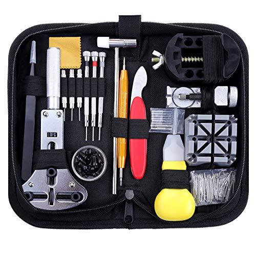 Zacro 151 Pcs Kit de Reparación de Relojes, con Herramientas de Reloj Barra de Resorte Profesional, con Abridor de Repara Pulsera de Reloj 52mm con Estuche Negro, Varios Accesorios,etc.