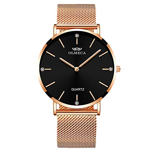 RORIOS Relojes de Mujer Cuarzo Analogico Relojes Minimalista Reloj Mujer con Banda de Malla Vestido Mujer Reloj de Pulsera