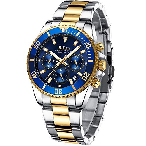 Reloj de Pulsera para Hombre con cronógrafo de Acero Inoxidable, Resistente al Agua, Fecha, analógico, de Cuarzo, para Hombre, Oro Azul B, Pulsera