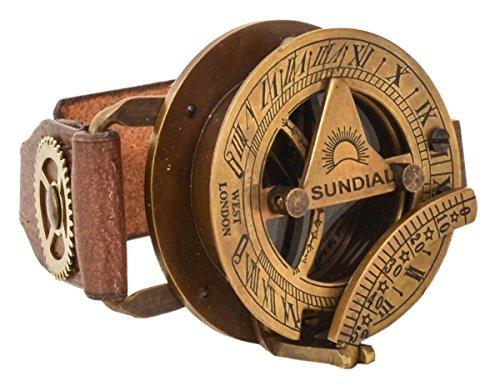 Gusti Pulsera de Cuero con Reloj del Sol Leder Denise Brazalete Steampunk Reloj Cuero de Búfalo Marrón 2A160-24-10