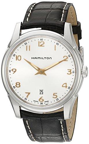 Hamilton Jazzmaster de los hombres de cuarzo de acero inoxidable y cuero reloj automático, color: marrón (modelo: h38511513)