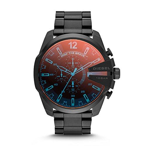 Diesel Reloj de Cuarzo para Hombre Mega Chief de Acero Inoxidable con cronógrafo, Negro, Talla única,