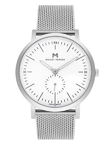 Mount Parker de Hombre Reloj de Pulsera Odyssey Plata 40mm | analógico de Cuarzo | Mesh Metal Pulsera Plata con Cierre de Gancho, Esfera Blanca con Cristal de Zafiro antirreflejos,