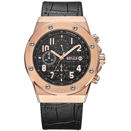 BAOGELA Relojes para Hombre Oro Rosa, Reloj Grandes Esfera, Relojes Deportivo Cuero Negro con Calendario Reloj de Pulsera de Cuarzo para Hombres, Resistente al Agua, Luminoso