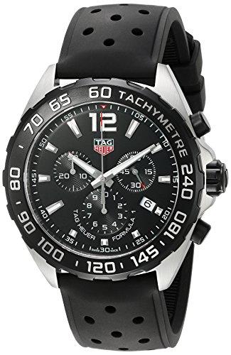 TAG Heuer Reloj de hombre de Fórmula 1, de goma y acero inoxidable, reloj de cuarzo suizo, color: negro (modelo: CAZ1010.FT8024)