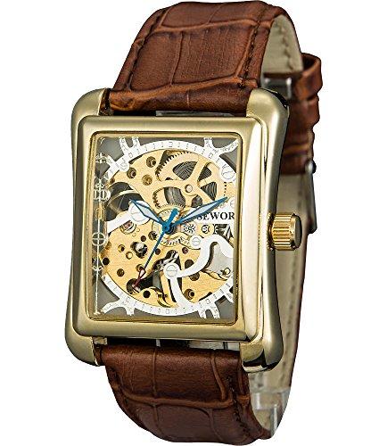 SEWOR Reloj para Hombre Hueca, mecánica Reloj de Pulsera con la Moda y Piel de Color Negro (Blanco)