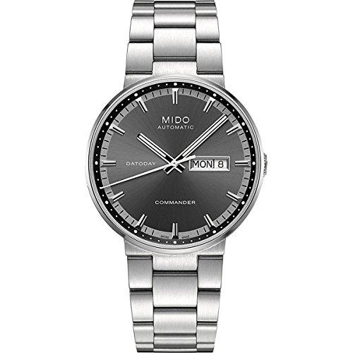 Mido Commander M0144301106100 - Reloj para Hombres, Correa de Acero Inoxidable Color Plateado