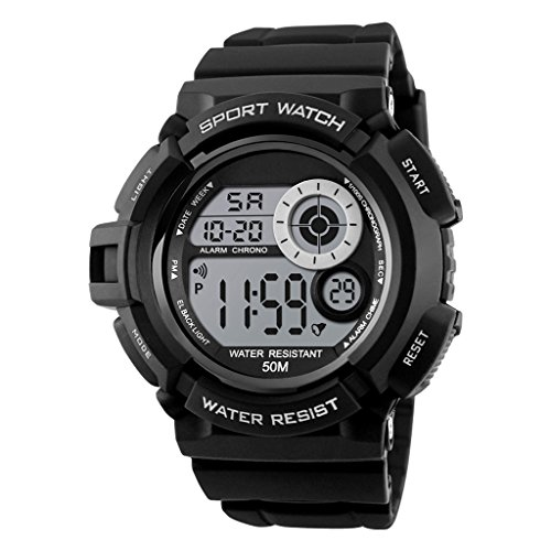 Reloj Hombres Reloj Deportivo Reloj Digital Multi-Zona Multifunción Reloj Multifunción (Color : Black)