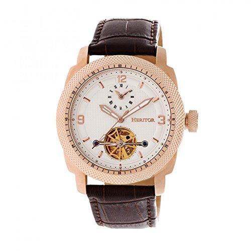 Heritor Helmsley HERHR5008 - Reloj semiesqueleto con correa de piel, oro rosa/blanco, estándar, con esfera