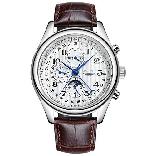 Guanqin Reloj de pulsera mecánico automático análogo de los hombres con acero inoxidable/banda de cuero fase lunar, Plateado, blanco y marrón., Correa