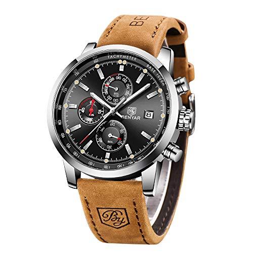 BENYAR Cuarzo cronógrafo Impermeable Relojes Business Casual Deporte Banda Correa de Piel Reloj de Pulsera