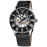 Akribos XXIV Men's AK410 'Saturnos' Skeleton Automatic Leather Strap Watch (Silver/Black)