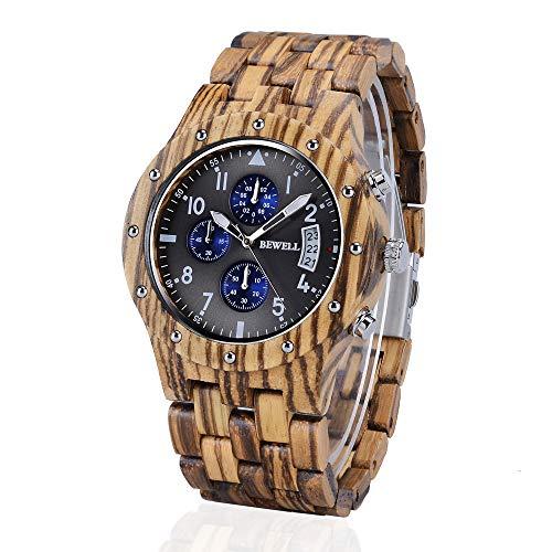 BEWELL Reloj De Madera Natural Estilo Vintage Movimiento De Cuarzo Japonés Reloj De Pantalla De Fecha con Función De Cronógrafo, Reloj De Pulsera Ecológica para Hombre W109D