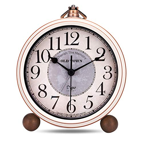 Lafocuse 13.3 cm Despertador Blanco Beige Vintage Retro Analogico Metal Grande Silencioso sin Tic TAC Reloj de Mesa Decorativo para Mesilla Dormitorio