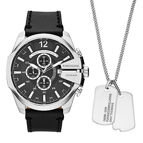 Conjunto de reloj Mega Chief para hombre, de Diesel, de acero inoxidable con cronógrafo y cadena, DZ4559