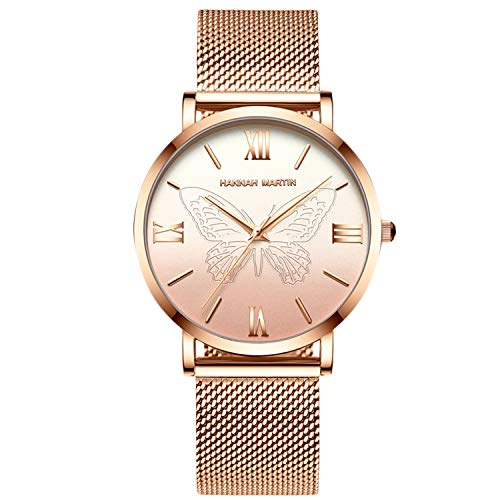 RORIOS Mujer Relojes de Pulsera Cuarzo Analógico Relojes Acero Inoxidable Mariposa Impermeable Moda Relojes de Mujer Dama