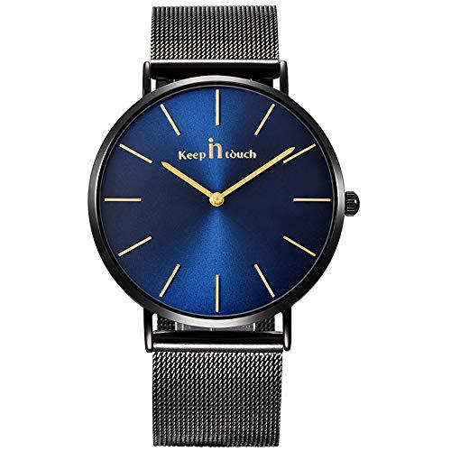 Unendlich U-Reloj de Cuarzo Reloj Azul Ultra Fino para Hombre Minimalista Moda Relojes de Pulsera para Hombres Vestir Casual Impermeable con Banda Negro de Acero Inoxidable