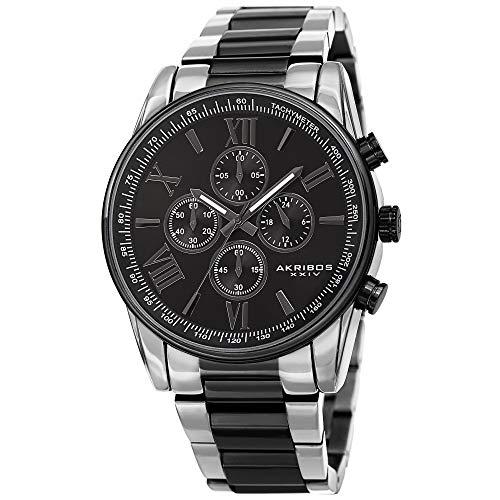 Akribos XXIV Reloj cronógrafo para hombre – 4 subesferas complicaciones multifunción con taquímetro en reloj de pulsera de acero inoxidable pesado – AK1072