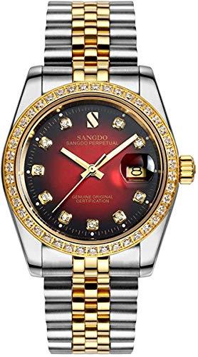 Sangdo Reloj de hombre con esfera redonda de diamante y correa de acero inoxidable automático mecánicos relojes