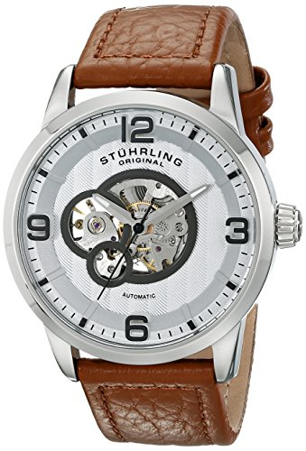 Stuhrling Original Men's Automatic Watch with Silver Dial Analogue Display and Brown Leather Strap 648. 01