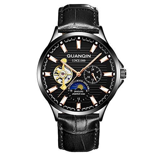 Guanqin Reloj de pulsera mecánico automático analógico con banda de cuero con indicador luminoso de fase lunar, Black Rose Gold Pointer, Correa